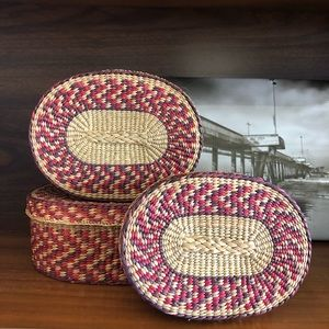 Vintage Woven Stacking Nesting Baskets Set of 3